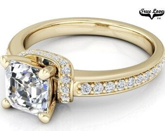 Moissanite Engagement Ring 14kt Yellow Gold #6889