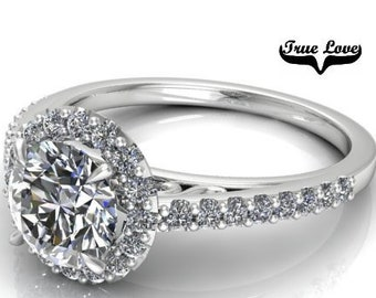 Moissanite Engagement Ring 14kt White Gold, Trek Quality #1, Wedding Ring, Halo, Side Moissanites #7879