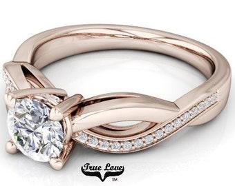 Moissanite Engagement Ring 14kt Rose Gold, Trek Quality #1, Wedding Ring, Side moissanites #7620