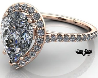 2.20 Carat Moissanite Pear Shape Trek Quality #1  D-E-F or GH Color VVS Clarity with Halo & Accented  Moissanites 14 kt.RoseGold  #6987