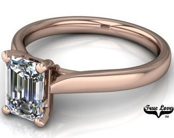 Moissanite Engagement Ring 14 kt Rose Gold Trek Quality #1 VVS Clarity  D-E-F colorless    1  Carat  #6736
