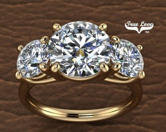 Three Stone Moissanite Engagement Ring Wedding Ring, Past Present Future  #7035