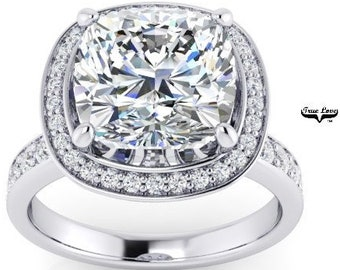 Moissanite Engagement Ring, Trek Quality #1 D-E Colorless, or GH Near Colorless VVS Clarity 14kt set in White Gold #6933