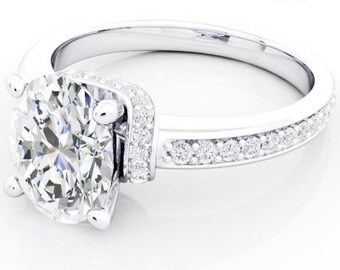 Moissanite Engagement Ring 14kt White Gold, Trek Quality #1, Wedding Ring, Side Moissanites #6831