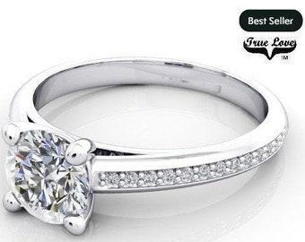Moissanite Engagement Ring 14kt White Gold, Forever One, Wedding Ring, Side Diamonds #7025