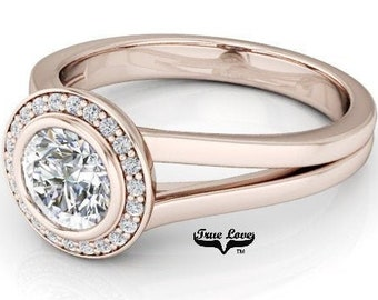 Moissanite Engagement Ring 14kt Rose Gold, Forever One, Wedding Ring, Halo, Bezel Setting, Split Shank #6917