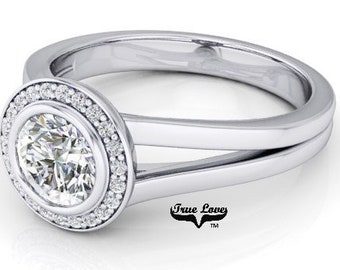 Moissanite Engagement Ring form .75 ct to 2ct. D-E colorless or Gh Near colorless 14kt White Gold, Halo, Bezel Setting, Split Shank #6915