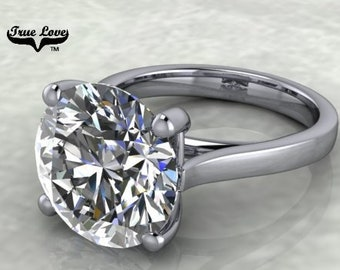 Moissanite Engagement Ring Trek Quality #1 D-E Colorless VVS Clarity 1,1.25,1.50,2,3,4,5 or 6 Carat Round Solitaire Platinum.#7028P