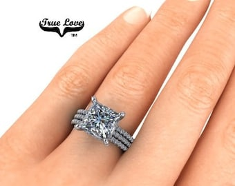 Lay Away Payment 1 of 6 for Rose Two Moissanite Wedding Bands 14 kt White Gold,trek Quality #1 , D-E Colorless VVS Clarity  #8312W