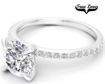 Moissanite Engagement Ring 14kt White Gold, Trek Quality #1, Wedding Ring, Side Moissanites #7878