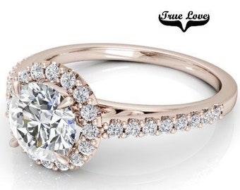 Moissanite Engagement Ring 14kt Rose Gold, Trek Quality #1, Wedding Ring, Halo, Side Moissanites  #7881am
