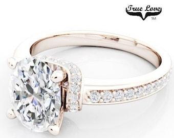 Moissanite Engagement Ring 14kt Rose Gold, Trek Quality #1, Wedding Ring, Side Moissanites, Oval Brilliant Cut  #6833