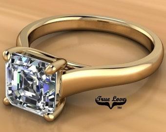 Moissanite Engagement Ring  Asscher Cut  Trek Quality #1 from .80 to 1.75 Carat  Asscher Cut ,14 kt White Gold  #6892