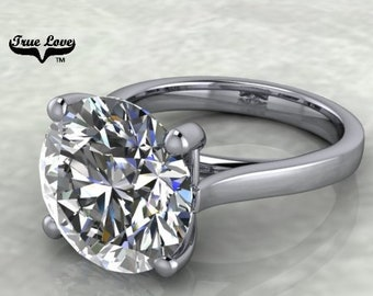 Moissanite Engagement Ring Trek Quality #1 D-E Colorless VVS Clarity 1,1.25,1.50,2,3,4,5 or 6 Carat Round Solitaire  14 kt White Gold.#7028