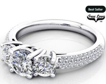 Moissanite Engagement Ring 14kt White Gold, Trek Quality #1, Wedding Ring, Trinity Ring, Three Stone Ring, Side Pave Moissanites #6958
