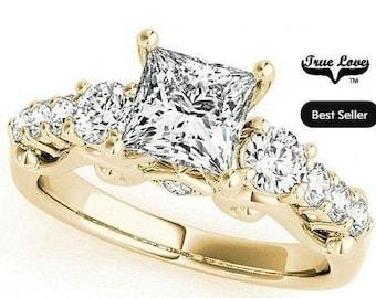 Princess Cut Moissanite Engagement Ring 14 kt Yellow Gold.#7331