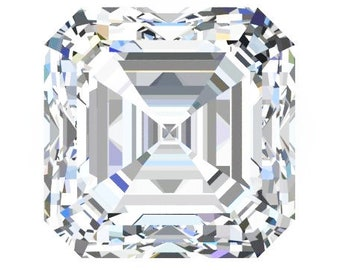 1,2,3 or 4 Carat Loose Moissanite Asscher Cut Trek Quality #1 D-E Colorless  or G-H Near Colorless VVS Clarity list Sizes listed #8342