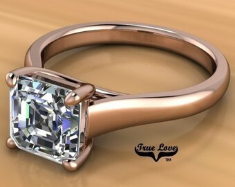 Moissanite Engagement Ring  Asscher Cut  Trek Quality #1 from .80 to 1.75 Carat  Asscher Cut ,14 kt White Gold  #6893