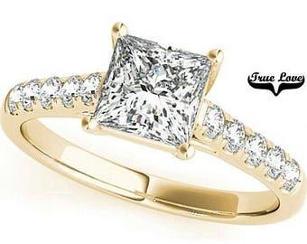 2 Carat 7mm Princess Cut Trek Quality #1 Moissanite  Side Round Moissanites Brand True love Engagement Ring 14kt Yellow Gold #7346