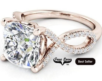 3  or 4 Carat Moissanite Eng. Ring 9 mm or 9.5mmTrek Quality #1 D-E-F or G-H Color Cushion cut 14kt Rose Gold,  #8297