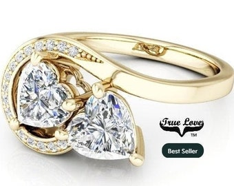 Two Stone 14 ktYellow Gold 6 mm 1.60 Carat Total weight Heart Shape Trek Quality #1 D-E Color  VVS Clarity Moissanite Engagement Ring #7764