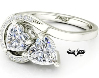 Two Stone 14 kt.White Gold 6 mm 1.60 Carat Total weight Heart Shape Trek Quality #1 D-E Color  VVS Clarity Moissanite Engagement Ring #7763