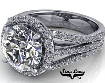 2,3,4,5 or 6 Carat Moissanite Engagement Ring Trek Quality #1 D-E-F or G-H ColorVVS Clarity as Listed Round brilliant Cut 14kt Gold #8328
