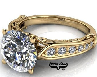 1.00,1.25,1.50,2.00 or 3.00 Carat Moissanite Trek Quality #1 D-E F Colorless or G-H Near Colorless Brand True Love Eng. Ring 14kt Gold #6770