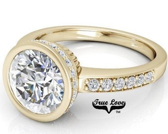 2 Carat Round 8 mm Trek Quality #1  Moissanite  With .29 Carat  and side Moissanites 14 kt.Yellow Gold Engagement Ring #7867