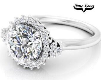 Moissanite Engagement Ring 14kt White Gold, Trek Quality #1, Wedding Ring, Halo, #7872