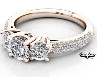 Moissanite Engagement Ring 14kt Rose Gold, Trek Quality #1, Wedding Ring, Pave Set, Three Stone, Trinity, Past Present Future #7052