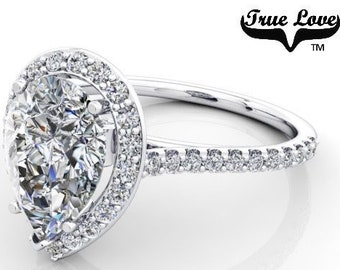 2.20 Carat Moissanite Pear Shape Trek Quality #1  D-E-F or GH Color VVS Clarity with Halo & Accented  Moissanites 14 kt.White Gold  #7089