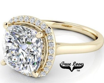 2.05,3.30 or 5 Carat  Moissanite  Cushion cut  Trek #1 quality D-E Colorless  or G-H Near Colorless Eng. Ring 14 kt Gold Halo #8293