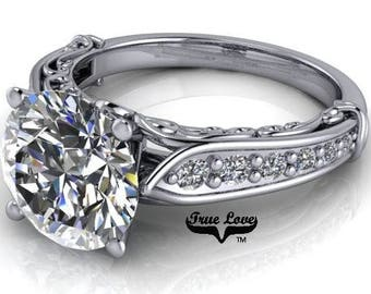 1.00,1.25,1.50,2.00 or 3.00 Carat Moissanite Trek Quality #1 D-E F Colorless or G-H Near Colorless Brand True Love Eng. Ring 14kt Gold #6769