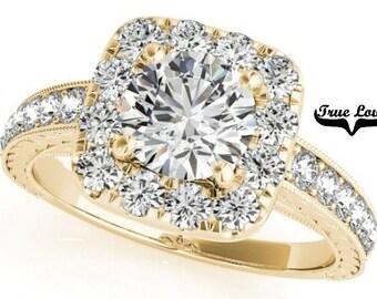 Moissanite Engagement Ring 14kt Yellow Gold, Wedding Ring, Halo, Side Moissanites #7295
