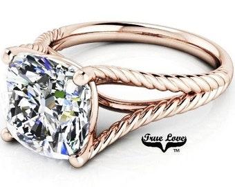3 Carat Moissanite Engagement Ring 9 mm Trek Quality #1 D-E-F or G-H Color Cushion cut   14kt Rose Gold,  Wedding Ring, #8300