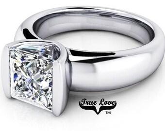 1 2 or 3 Carat Trek Quality #1 Moissanite  Brand True Love Engagement Ring 14kt White Gold  Wedding Ring, Solitaire #7217