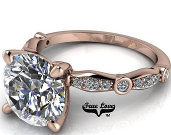 Moissanite Engagement Ring  1,2 or 3 Carat Trek Quality #1 D-E Colorless or G-H Near Colorless,  Side Moissanites 14kt Rose Gold #6774