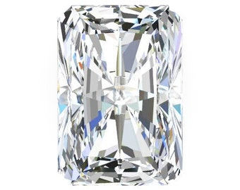1 to 9 Carat Loose Moissanite Radiant Cut Trek Quality #1 D-E Colorless  or G-H Near Colorless VVS Clarity list Sizes listed #8347