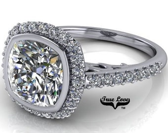 1 , 1.70 or 2.50 Carat Cushion Cut Moissanite Trek Quality #1 D-E Colorless or G-H Near Colorless, Eng. and Wedding Ring 14kt Gold #8362WC