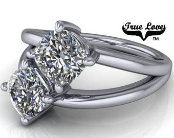 NEW! Two Stone 14  kt. White Gold  6 mm 2.10 Carat Total weight Cushion Cut Trek Quality #1 Moissanite Engagement Ring #7762