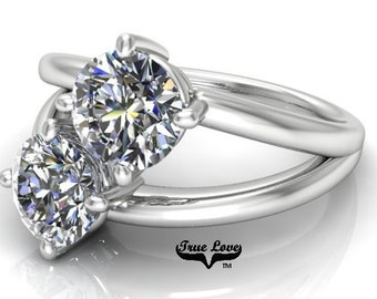 NEW! Two Stone 14  kt. White Gold  6.5mm 2  Carat Total weight Round Brilliant Cut Trek Quality #1  Moissanite Engagement Ring #8172