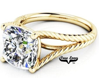 3 Carat Moissanite Engagement Ring 9 mm Trek Quality #1 D-E-F or G-H Color Cushion cut   14kt Yellow Gold,  Wedding Ring, Split Shank #8299