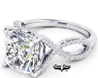 3 Carat Moissanite Engagement Ring 9 mm Trek Quality #1 D-E-F or G-H Color Cushion cut  14kt White Gold,  Wedding Ring, #8295