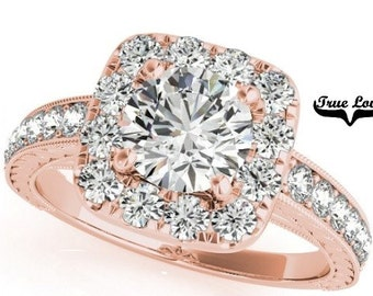 Moissanite Engagement Ring 14kt Rose Gold, Trek Quality #1, Wedding Ring, Square Halo, Side Moissanites  #7296