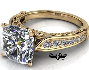 1.25, 1.75,2.5, or 4 Carat Cushion Cut Moissanite Trek Quality#1 D-E Colorless or GH near Colorless Engagement Ring 14k Yellow Gold #6740