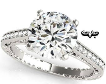 3 Carat Moissanite Engagement Ring 14kt White Gold, Trek Quality #1 D-E-F or G-H VVs Clarity as listed, Side Moissanites  #7529B