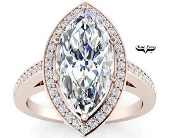 Moissanite Engagement Ring 14 kt Rose Gold, Trek Quality #1, Wedding Ring, Halo, Side Moissanites, Marquise #6949