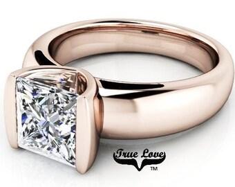 1 2 3 or 4 Carat Trek Quality #1 Moissanite  Brand True Love Engagement Ring 14kt Rose Gold Euro Shank , Solitaire  #7219E