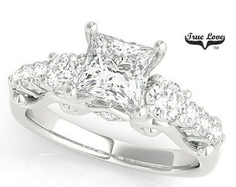Princess Cut Moissanite Engagement Ring Platinum .  #7330P